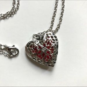 Silver Heart Essential Oil Necklace